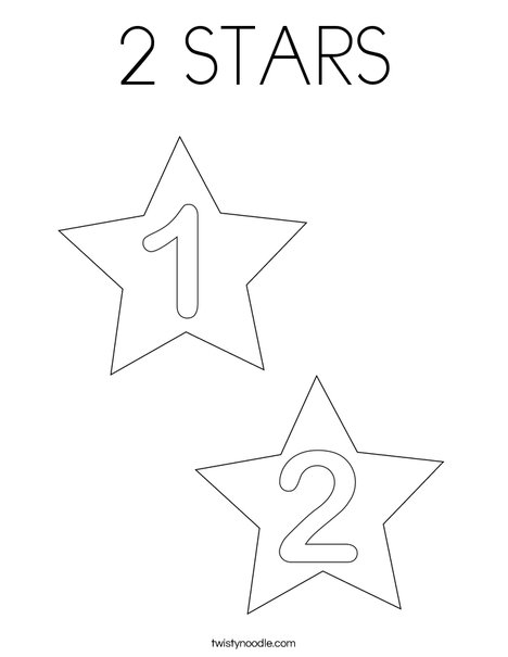 2 Stars Coloring Page