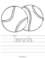Tennis Handwriting Sheet