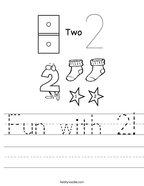 Fun with 2 Handwriting Sheet