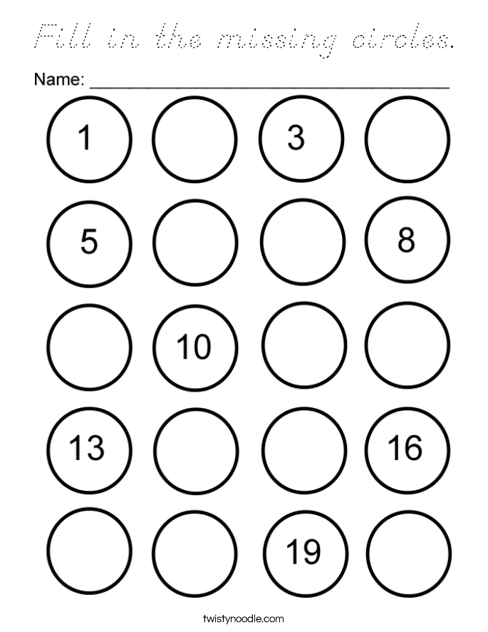 Fill in the missing circles. Coloring Page