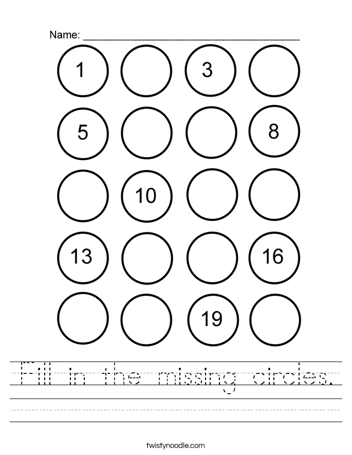 Fill in the missing circles. Worksheet