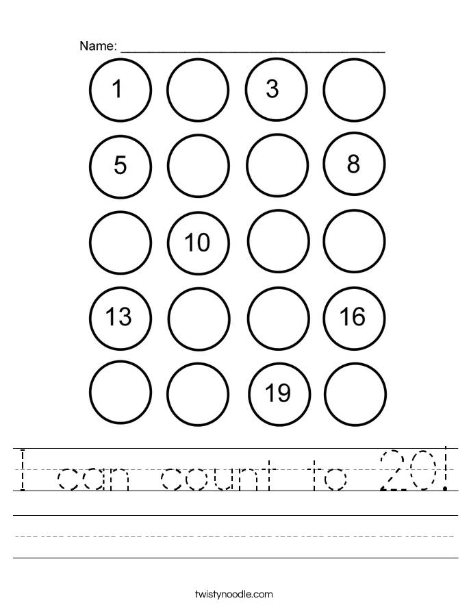 Printable Worksheets worksheets counting to 20 : I can count to 20 Worksheet - Twisty Noodle