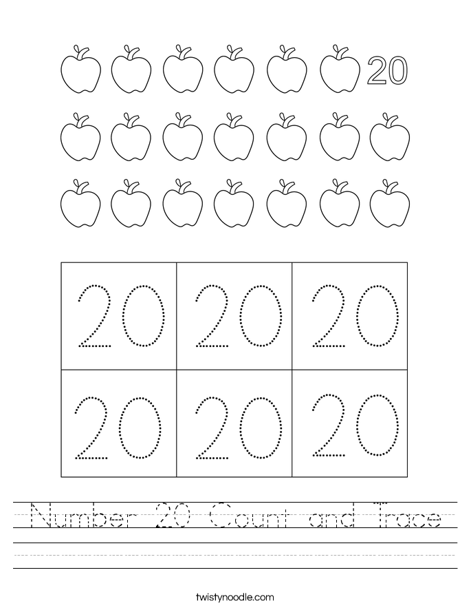 Number 20 Count and Trace Worksheet