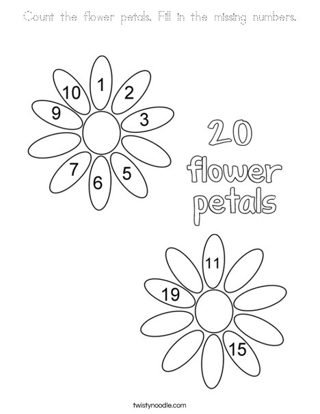 Count the flower petals Fill in the missing numbers