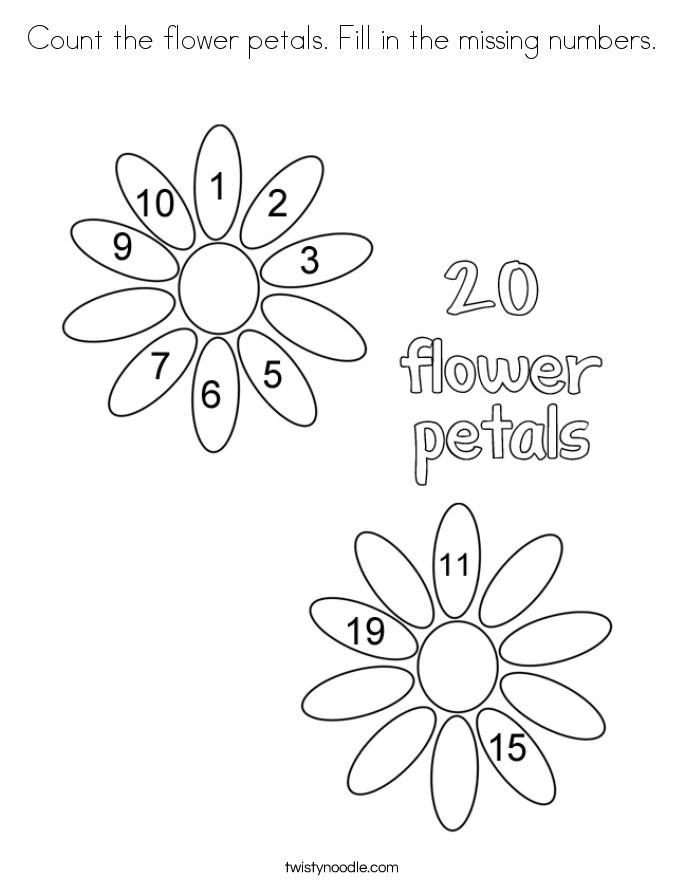 Count the flower petals. Fill in the missing numbers. Coloring Page