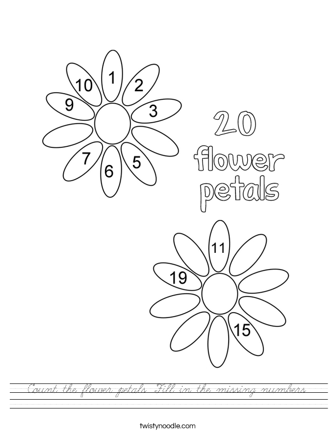 Count the flower petals. Fill in the missing numbers. Worksheet