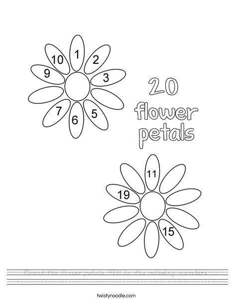 20 flower petals Worksheet