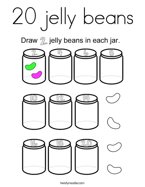 20 jelly beans Coloring Page - Twisty Noodle