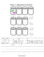 20 jelly beans Handwriting Sheet