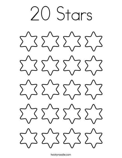 20 Stars Coloring Page