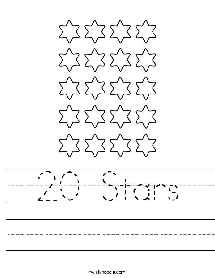 20 Stars Worksheet