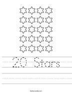 20 Stars Handwriting Sheet