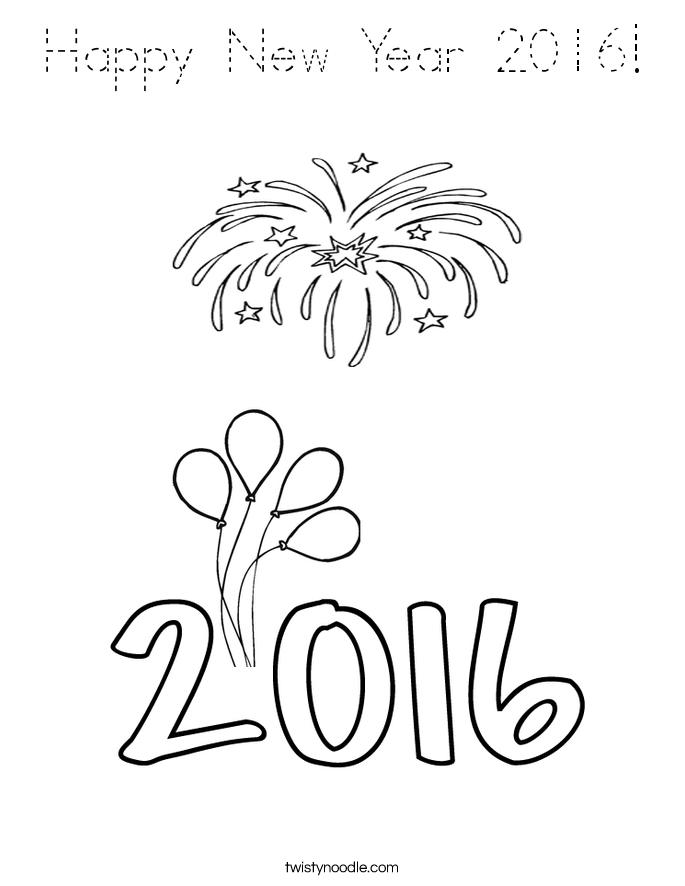 Happy New Year 2016! Coloring Page