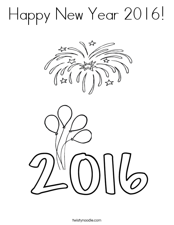 Happy new year 2016 coloring page twisty noodle for Happy new year coloring pages 2016