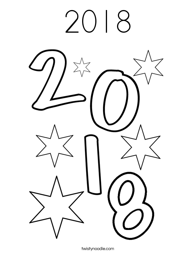 2018 coloring page - Coloring Page 2018