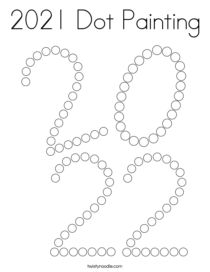 2021 Dot Painting Coloring Page