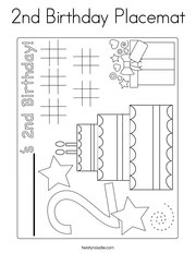 2nd Birthday Placemat Coloring Page