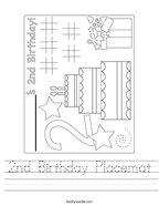 2nd Birthday Placemat Handwriting Sheet