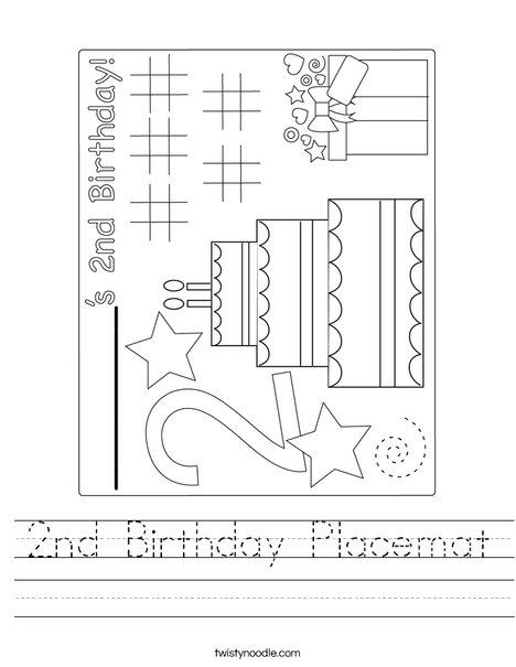 2nd Birthday Placemat Worksheet