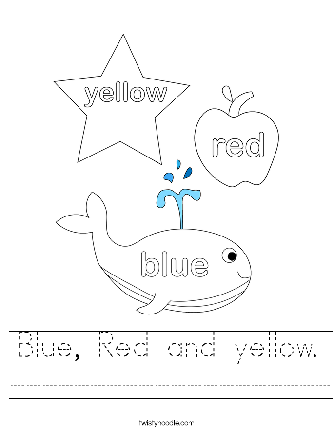 Blue, Red and yellow. Worksheet