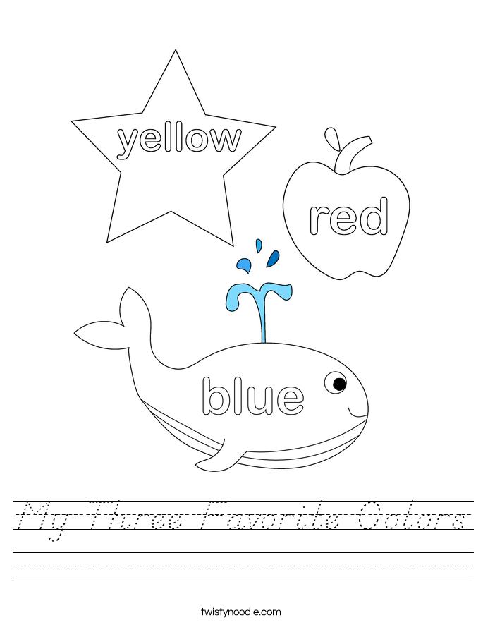 My Three Favorite Colors Worksheet