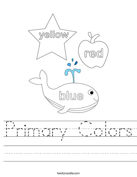 math worksheet : primary colors worksheet  twisty noodle : Color Worksheet For Kindergarten