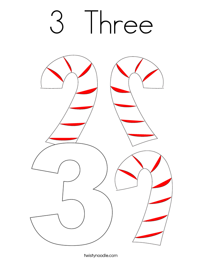 3  Three Coloring Page