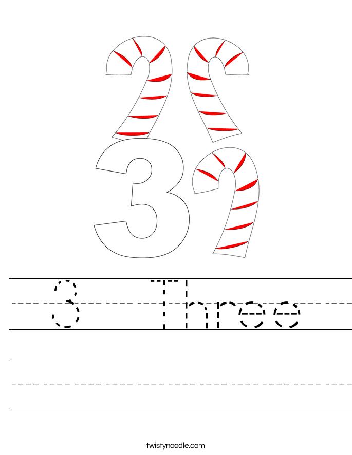 Number 3 Worksheets 3 three handwriting sheet