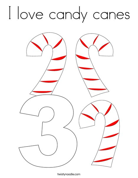 3 Candy Canes Coloring Page