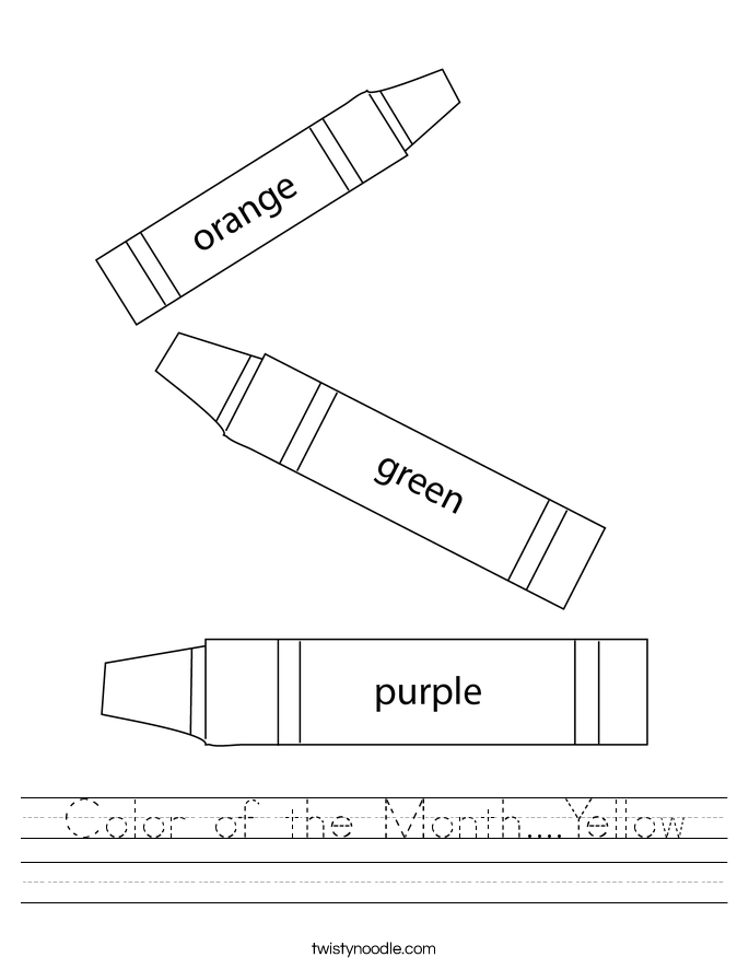 Color of the Month....Yellow  Worksheet