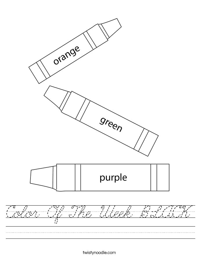 Color Of The Week BLACK Worksheet