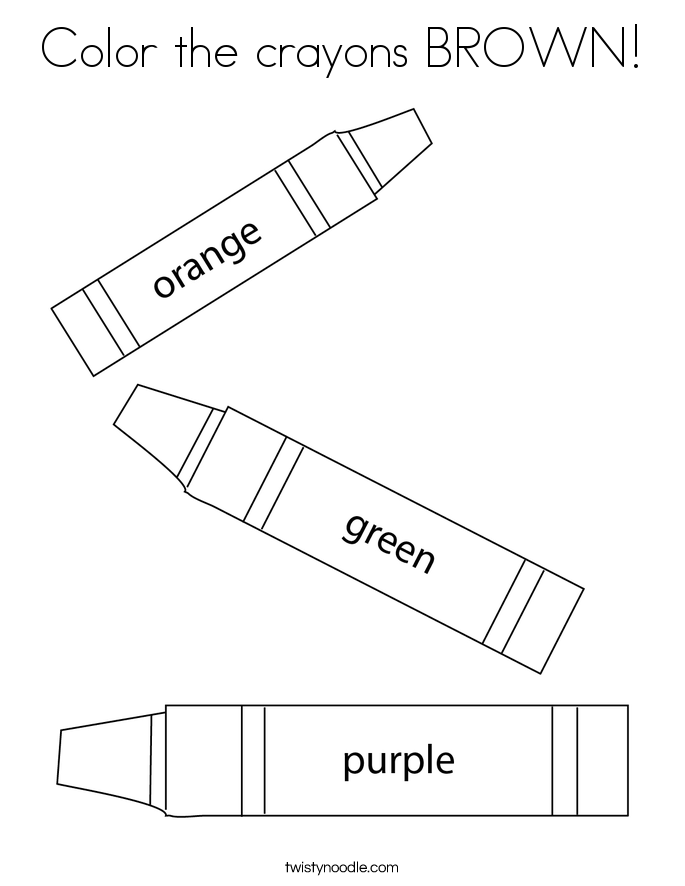 Color the crayons BROWN! Coloring Page