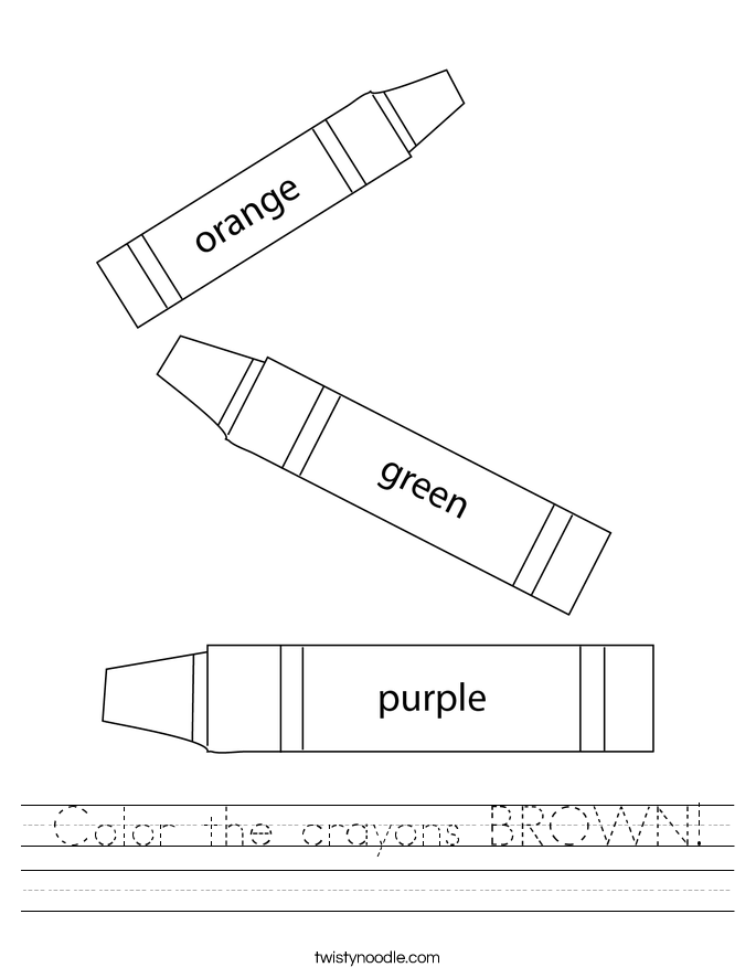 Color the crayons BROWN! Worksheet