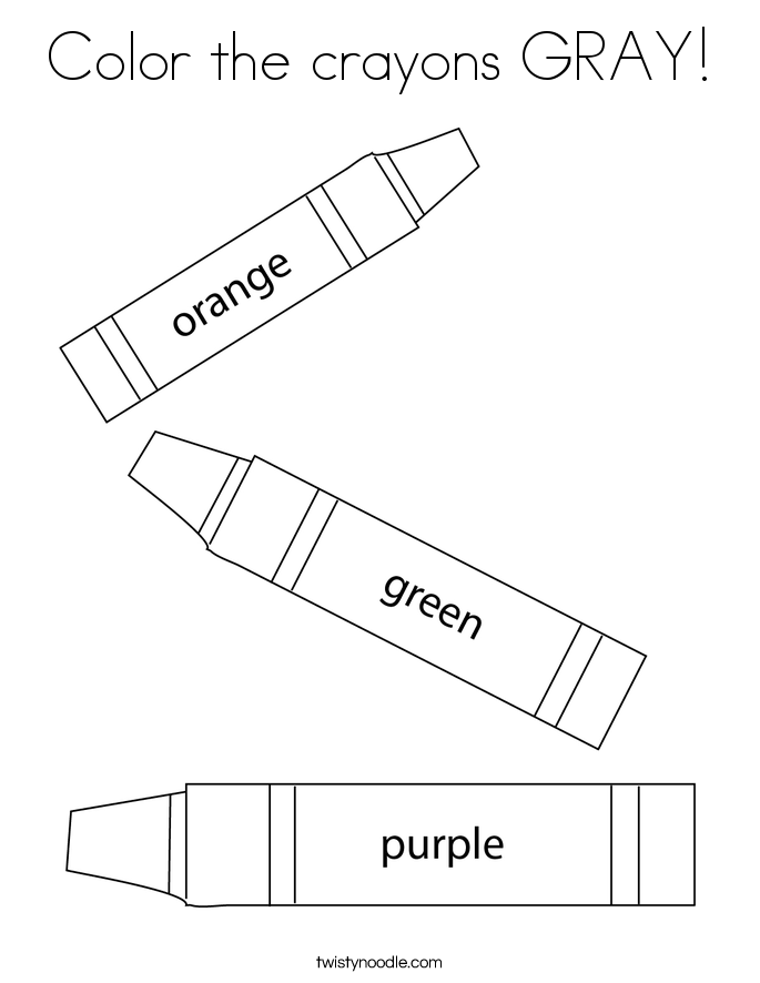 Color the crayons GRAY! Coloring Page