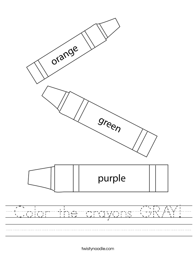 Color the crayons GRAY! Worksheet