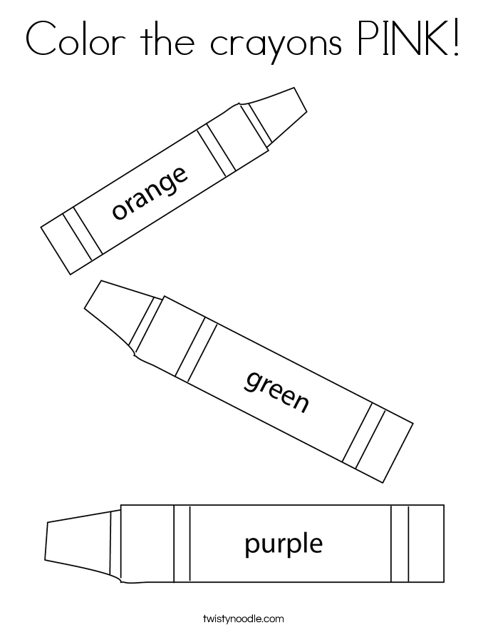 Color the crayons PINK! Coloring Page