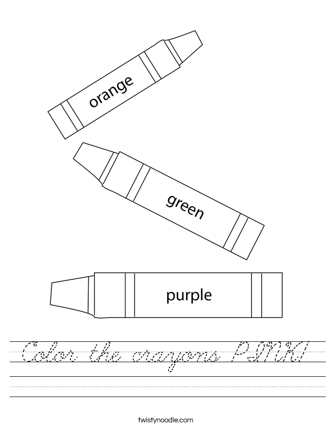 Color the crayons PINK! Worksheet