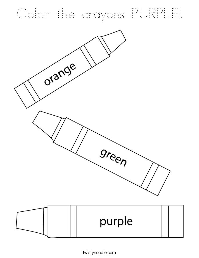 Color the crayons PURPLE! Coloring Page