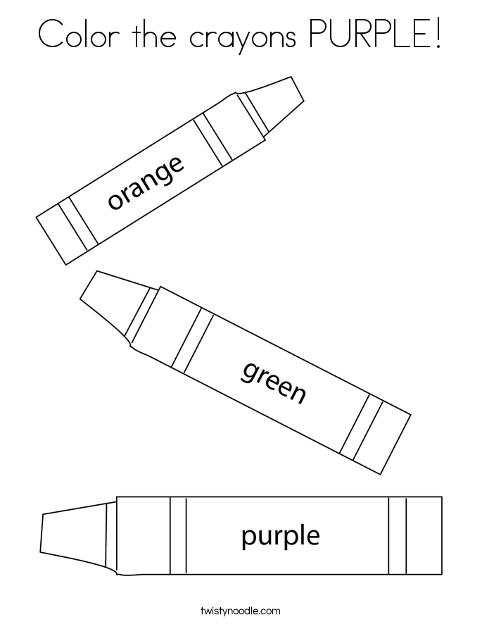 color the crayons purple coloring page - Crayon To Color
