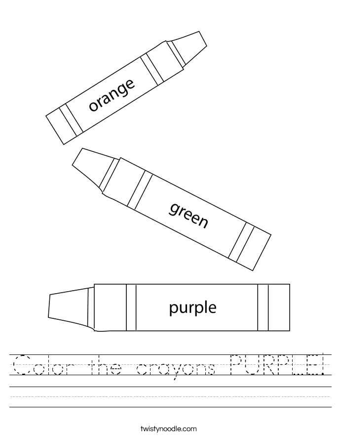Color the crayons PURPLE! Worksheet