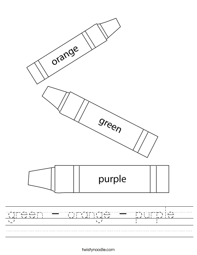 green - orange - purple   Worksheet