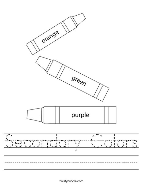 Secondary Colors Worksheet - Twisty Noodle
