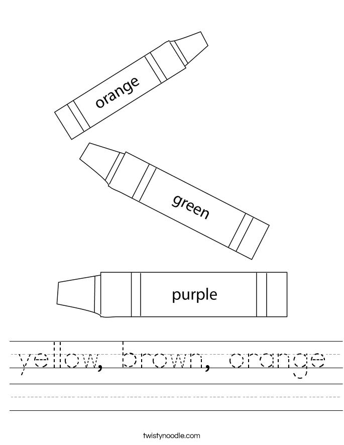 yellow, brown, orange Worksheet