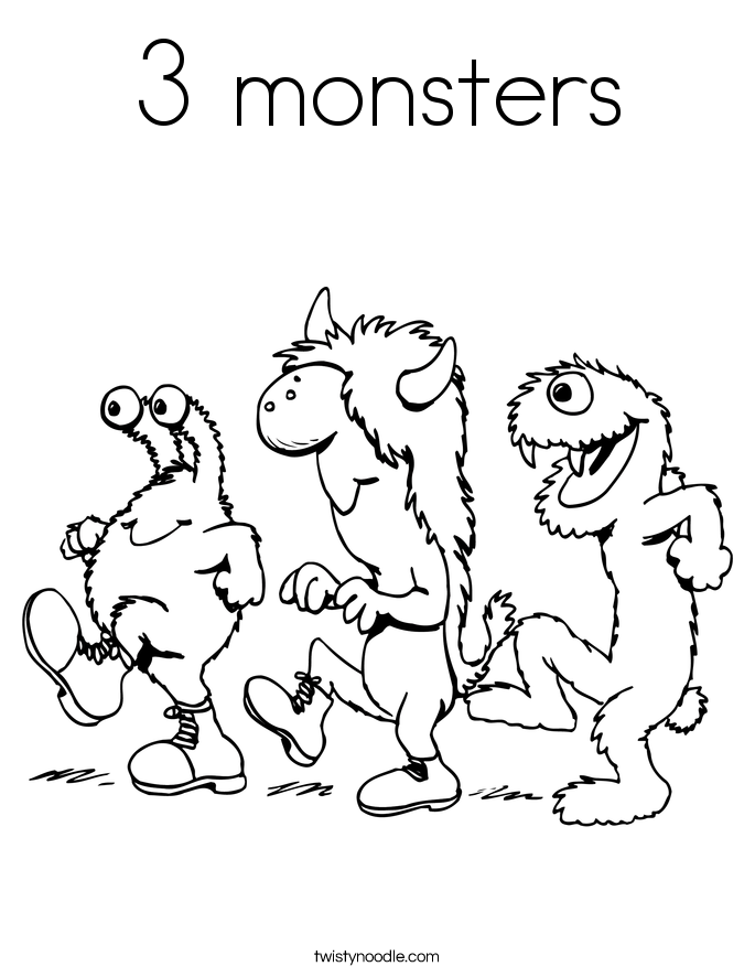 3 monsters Coloring Page