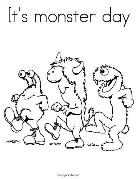 3 Monsters Walking Coloring Page