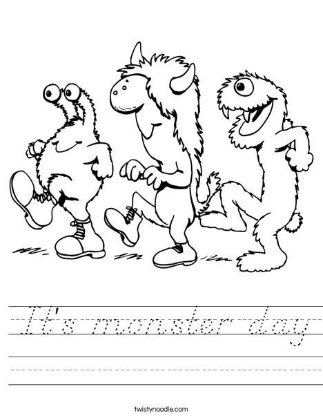 It's monster day Worksheet - D'Nealian - Twisty Noodle