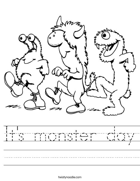 3 Monsters Walking Worksheet