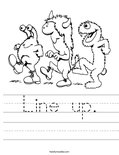 Line up. Worksheet