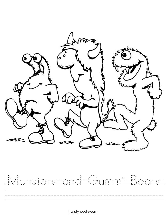 Monsters and Gummi Bears Worksheet