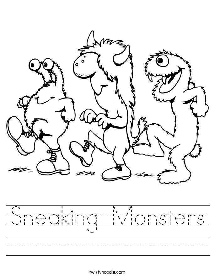 Sneaking Monsters Worksheet